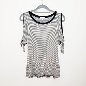 Maurice's Striped Cold Shoulder Tie Sleeve Top
